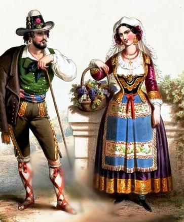 """""""Costume din Valahia""""- litografie  realizată de Alexander Lacauchie în jurul anului 1850, sursa : https://world4.eu/"""